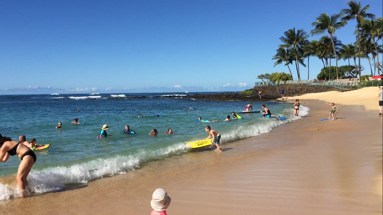 Beautiful day in Kauai at Waiohai Beach